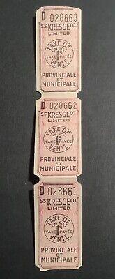 CANADA REVENUE QUEBEC 1¢ SALES TAX (3 Tickets Together ) # D028661 #62 (Canada Sales Tax)