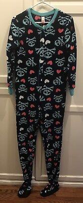 Footed Sleeper Pajamas Pj S (NO BOUNDARIES Women's Sz SMALL Fleece Blue PJ Skulls Sleeper Footed Pajama)
