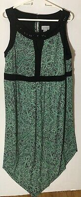 Catherine's Women's Plus 1X 18/20 Green Black Paisley Print Beaded Maxi Dress Beaded Paisley Print Dress