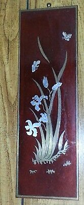 SET OF 4 VINTAGE JAPANESE LACQUER WOOD WALL HANGING GOLD SILVER METAL INLAY
