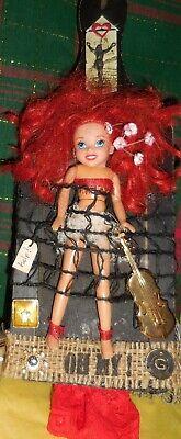Bread Board Bad Hair Day Barbie Band Artisan Mixed Media Doll Art