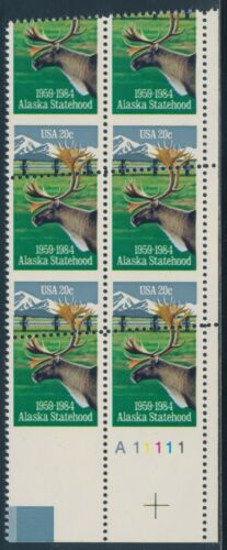 #2066 Var 20¢ Alaska Major Perf Shift Error Plate Block Bu4092