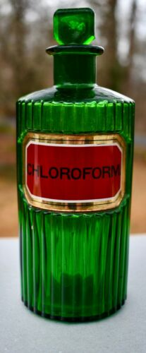 Emeral Green Chloroform Bottle 19th Century