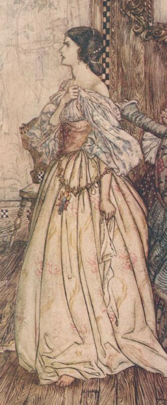 Bertalda Muttermal Angry Undine Arthur Rackham c1909 Antik Tipped in Kunstdruck