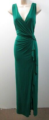 Lauren Ralph Lauren Green V-Neck Sleeveless Ruching Stretch Jersey Long Dress