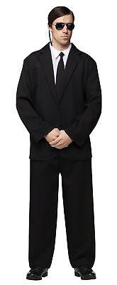 Mens Adult Mobster Gangster/Blues Singer/Special Agent Black Suit Costume - Special Agent Costume