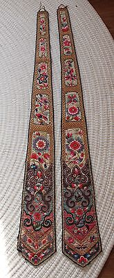 Estate- (2) Antique Chinese Forbidden Stitch Bird Floral Embroidery Hangings