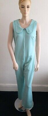 VINTAGE 60S MINT BLUE TAILORED RETRO MOD JUMPSUIT TROUSER ALL IN ONE 10 12