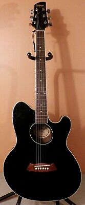 IBANEZ TALMAN TCY10BK ACOUSTIC ELECTRIC GUITAR BLACK STRAT SHAPE ACTIVE EQ