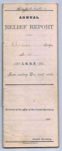1886 TOMBSTONE, ARIZONA, COCHISE LODGE NO. 5 - I.O.O.F. ANNUAL RELIEF REPORT