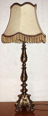 Antik Messing-Stoffschirm Tischlampe 2 Flammig 84 cm Hoch