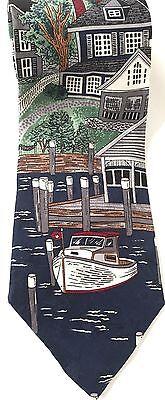 History of 1920s Men's Ties, Neckties, Bowties New England Village Neck Tie Americana Series Water Town Boats Circa 1920s 58in $19.99 AT vintagedancer.com