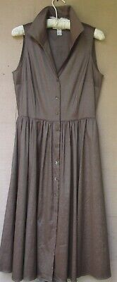 """Joseph Ribkoff Shimmering Brown Button Front Dress Pockets Bust 36"""" Size 8"""