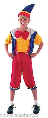 Kids Childrens Puppet Boy Pinocchio Fairy Story Fancy Dress Costume Age 4-14 yrs