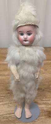 Antique German Bisque Doll Baby Blue Eyes Teeth Snowbaby Falk Fur Costume RARE