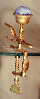 Original RaRe ANTIQUE brassl FIGURAL HEMMING BIRD CLAMP- C1850'S