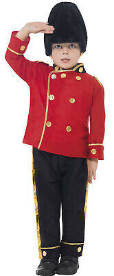 Boy Busby Red British Guard Army Military Soldier Fancy Dress Costume Outfit 4-7 - British Army Costume