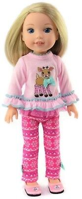 Pink Reindeer & Leggings Outfit for American Girl Wellie Wishers Doll Clothes - Reindeer Outfit