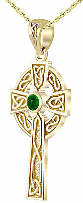 Created Emerald Cross - 14k Yellow Gold Irish Celtic Knot Cross Chatham Created Emerald Pendant Necklace