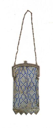 Vintage Whiting Davis Art Deco Blue Metal Fine Mesh Purse 1920s Flapper