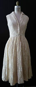 50s-60-Couture-Vtg-Cream-Lace-Dress-Wedding-Cocktail-UK10-12-US-6-8-S-M