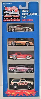 Hot Wheels Chevrolet 5 Pack 25th Silver Anniversary Car included 10787 New