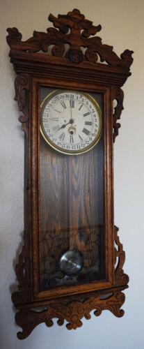 Antique Waterbury Springfield 8 Day Spring Driven Calendar Wall Clock