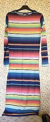 BNWOT House Of Holland Multicoloured Striped Midi Dress Size XS