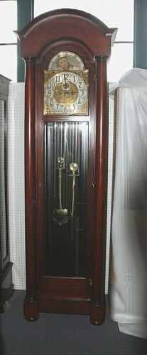 """Antique HERSCHEDE Long Case GRANDFATHER CLOCK 92""""H.Moon Dial.Westminster. Works"""