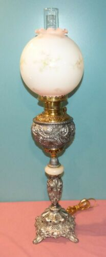 Beautiful Antique Electrified Oil Parlor Table Lamp