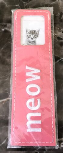 Leatherette Bookmark Pink Embroidered Kitten Meow