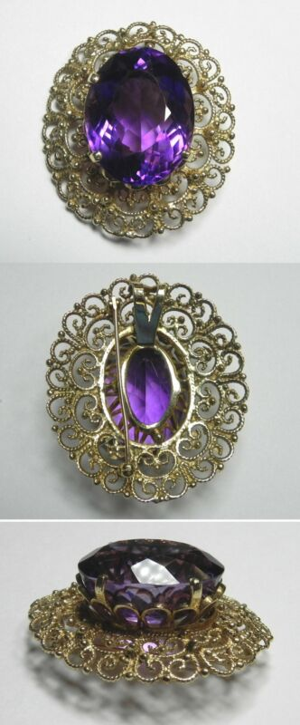 C991 Vintage 14K Solid Yellow Gold Large Filigree Brooch w/54.24ct Oval Amethyst
