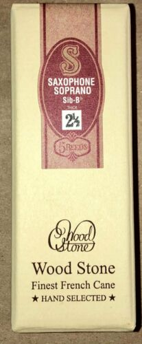NOS/1 Unopened Box of 5 Reeds, WOODSTONE by ISHIMORI SOPRANO #2 1/2 Thick