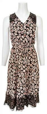 LOFT OUTLET Floral Print  Lace Trim Sleeveless Dress ()