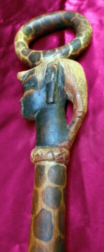 Vintage Carved African Wooden Painted Swagger Stick Cane
