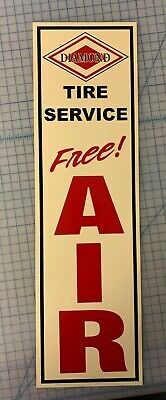 Vintage,Diamond,Tire Service, Free, Air, Sign, Aluminum,Metal,Approx. 6x21in.
