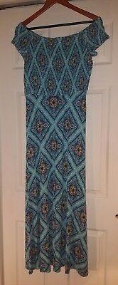 (Ann Taylor LOFT Beach Blue Print Off The Shoulder Smocked Maxi Dress S NEW NWT)