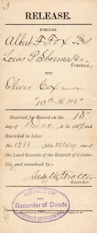 James Monroe Trotter Signed Release Boston 1887 55th Ma./Slave/Civil Rights COA
