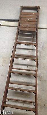 Vintage 12 Feet Long Wooden Step Ladder With Pail Shelf For Tall Ceilings Foyer