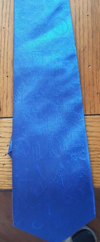 MASONIC BLUE NECKTIE  WITH SYMBOLS 60 1/2 INCHES LONG