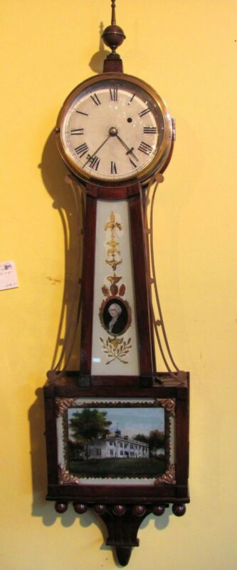 Antique American Mahogany Case Banjo Clock 8 Day 19th Century