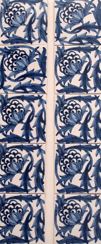 William Morris Artichoke 10 Tiles Wall Fireplace FREE POSTAGE  Hand Made