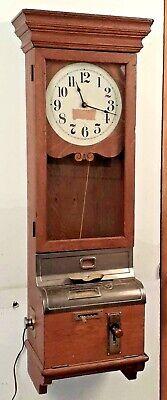 International Time Recorder Co. Punch Clock Oak Case