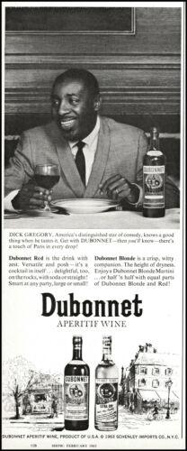 1963 Dick Gregory photo endorsing Dubonnet aperitif wine vintage print ad L60