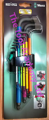 "WERA TOOLS ""NEW RELEASE"" COLOURED HEX ALLEN KEYS LONG 1.5mm > 10mm IN HOLDER"
