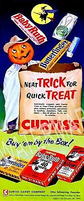 Baby Ruth Advertising Candy Halloween High Quality Metal Fridge Magnet 2x5 9712