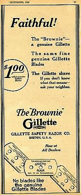 1922 Gillette The Brownie Safety Razor Blade Vintage Print Ad