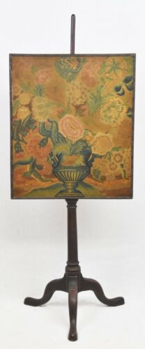 18th Century Floral Embroidery Mahogany Pole Fire Screen Williamsburg Style