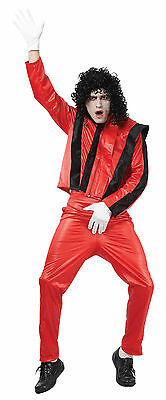 Halloween Songs Michael Jackson Thriller (Mens Michael Jackson Thriller Song Outfit Black & Red Fancy Dress Costume)