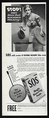 S.O.S. scouring pads pots pans cooking cleaning image 260 1935 Vintage Print Ad